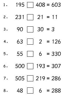 What symbols need to go into these sums? Can you complete the number ...